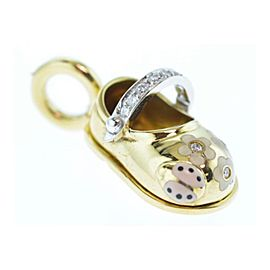 18 Karat Yellow Gold Shoe Charm with Enamel Spring Design and Diamond Strap