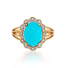Le Vian Certified Pre-Owned Robin's Egg Turquoise and Vanilla Diamonds Ring set in 14k Honey Gold
