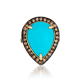 Le Vian Certified Pre-Owned Robin's Egg Turquoise and Chocolate Diamonds Ring set in 14k Honey Gold