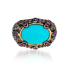 Le Vian Certified Pre-Owned Robin's Egg Turquoise, Bubblegum Pink Sapphires, and Chocolate Diamonds Ring set in 14k Honey Gold