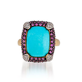 Le Vian Certified Pre-Owned dRobin's Egg Turquoise, Bubblegum Pink Sapphires, and Vanilla Diamonds Ring set in 14k Honey Gold