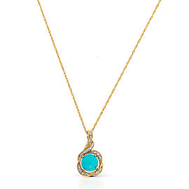 Le Vian Certified Pre-Owned Robin's Egg Turquoise and Vanilla Diamonds Pendant set in 14k Honey Gold
