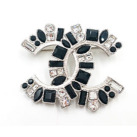 Chanel Silver-Tone Metal & Black Crystal CC Large Brooch