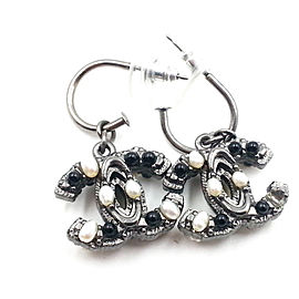 Chanel Gunmetal CC Mini Simulated Glass Pearl Dangle Ruthenium Piercing Earrings