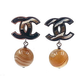 Chanel Silver-Tone Metal & Petrified Wood Bead CC Earrings
