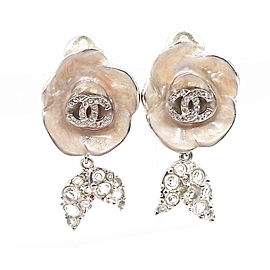 Chanel Silver-Tone Metal & Pink Enamel Leaves CC Camellia Clip-On Earrings