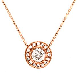 18K Rose Gold Round Pendant Diamond Necklace