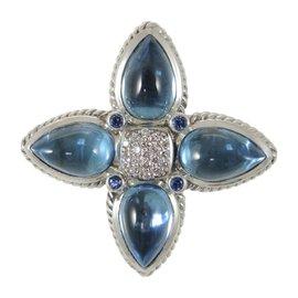 David Yurman Sterling Silver With Blue Topaz & Blue Sapphire Pave Diamond Pendant