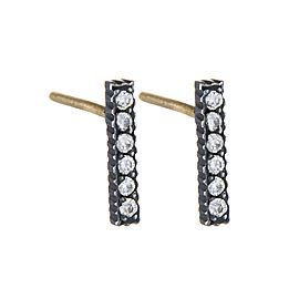 Yossi Harari Jewelry Oxidized Gilver Diamond Stick Lilah Stud Earrings