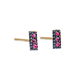 Yossi Harari Jewelry Oxidized Gilver Pave Ruby Lilah Stick Earrings