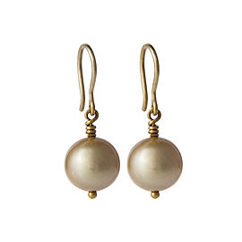 Yossi Harari Jewelry 24k Gold South Sea Cultured Pearl Drop Roxanne Earrings