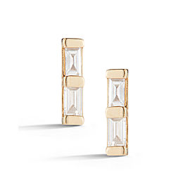 Yellow Gold Sadie Pearl Mini Baguette Bar Earrings