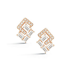 Rose Gold Sadie Pearl Geo Baguette and Pave Earrings