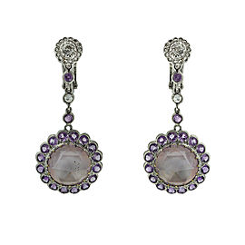 Laura Munder 18k White Gold Contemporary Diamond and Amethyst Dangle Earring