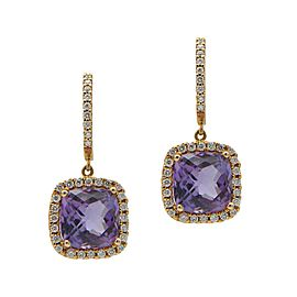 Sea Wave Diamonds 18k Rose Gold 0.42CT Diamond 4.94CT Amethyst Amethyst and Diamond Earrings
