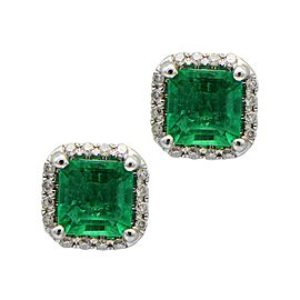 Sea Wave Diamonds 18k White Gold 0.17CT Diamond Pave 0.84CT Emerald Emerald and Diamond Earrings