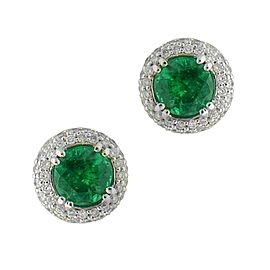 Sea Wave Diamonds 18k White Gold 1.27CT Green Emerald 0.45CT Diamond Pave Emerald and Diamond Earrings