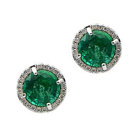 Sea Wave Diamonds 18k White Gold 1.95CT Emerald 0.14CT Diamond Pave Emerald and Diamond Earrings