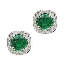 Sea Wave Diamonds 18k White Gold 1.39CT Emerald 0.25CT Diamond Emerald and Diamond Earrings