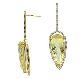 Sea Wave Diamonds 18k Yellow Gold 0.85CT Diamond Peridot and Diamond Earrings