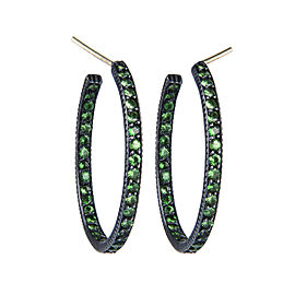 Yossi Harari Jewelry Oxidized Silver Pave Tsavorite Lilah Hoop Earrings