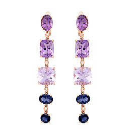 14k Rose Gold Amethyst and Iolite Earrings