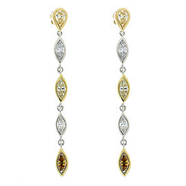 2.50 Carat Total White and Fancy Yellow Marquise Diamond Dangle Earring