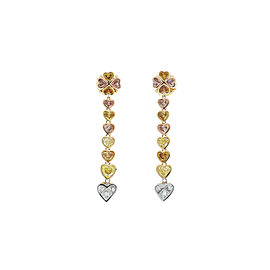 3.80 Carat Natural Fancy Colored Heart Shape Diamond Dual Tone Dangle Earrings