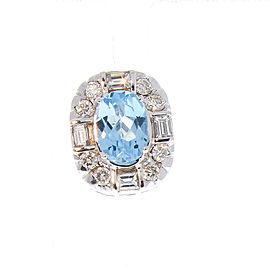 2.03 Carat Total Blue Topaz and Diamond Earrings in 14 Karat White Gold