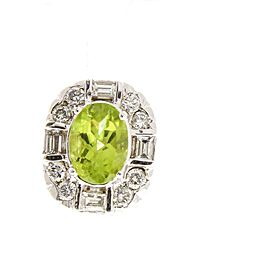 1.98 Carat Total Cushion Cut Peridot and Diamond Earrings in 14 Karat White Gold
