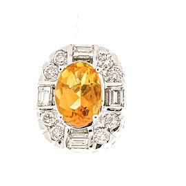 1.54 Carat Total Cushion Cut Citrine and Diamond Earrings in 14 Karat White Gold