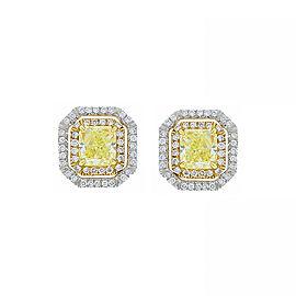 GIA 2.00 Carat Total Radiant Cut Fancy Light Yellow Diamond Two-Tone Earring