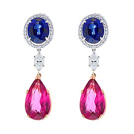 23 Carat Total Pear Shape Rubellite, Marquise Diamond and Blue Sapphire Earring