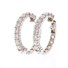 5.02 Carat Total Inside Outside Diamond Hoop Earrings in 14 Karat White Gold