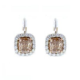 3.07 Carat Total Cushion Cut Brown Diamond Two-Tone Earrings in 18 Karat Gold