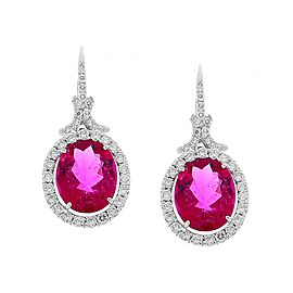 6.69 Carat Total Oval Rubellite and Diamond Earrings in 18 Karat White Gold