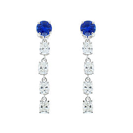 1.48 Carat Total Ceylon Sapphire and 2.25 Carat Total Cushion Diamond Earrings