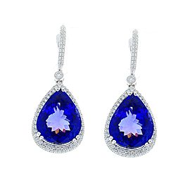 17.82 Carat Total Pear Shape Tanzanite and Diamond Earrings in 18 Karat Gold
