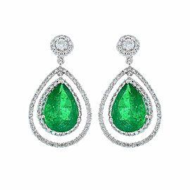 4.45 Carat Total Pear Shape Emerald and Diamond Earrings in 18 Karat White Gold