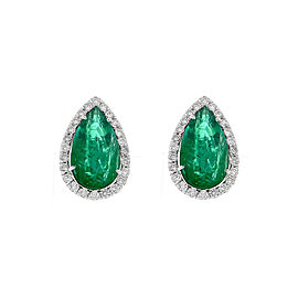 10.01 Carat Total Pear Shaped Emerald and Diamond Earring in 18 Karat White Gold