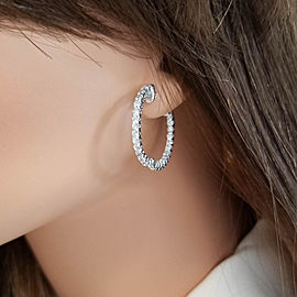 Earring 14KW, Dia 2.20CTW IN & OUT HOOPS 54stn