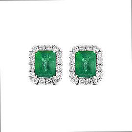 11.36 Carat Emerald Cut Emerald and Diamond Earrings in 18 Karat White Gold