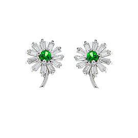 1.20 Carat Total Emerald and Baguette Diamond Earrings in 14 Karat White Gold