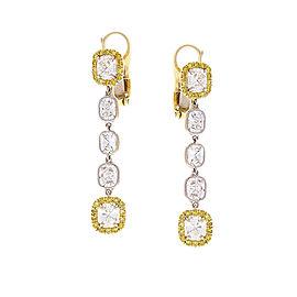 3.56 Carat Total Cushion Diamonds and Fancy Yellow Diamond Two-Tone Earrings