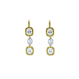 2.46 Carat Total Cushion Diamond and Fancy Yellow Diamond Two-Tone Gold Earrings