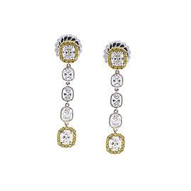 3.71 Carat Total Cushion Diamond and Fancy Yellow Diamond Two-Tone Earrings