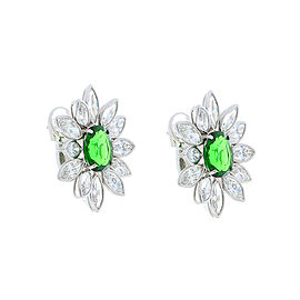 5.10 Carat Total Tsavorite and Marquise Diamond Earring in 18 Karat White Gold