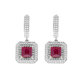 GIA Certified 3.61 Carat Total Princess Cut Unheated Rubies and Diamond Earrings