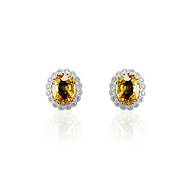11.49 Carat Total Yellow Sapphire and Diamond Earring in 14 Karat White Gold