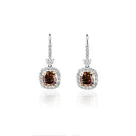 GIA Certified 4.13 Carat Total Cushion Cut Fancy Brown Diamond Earring